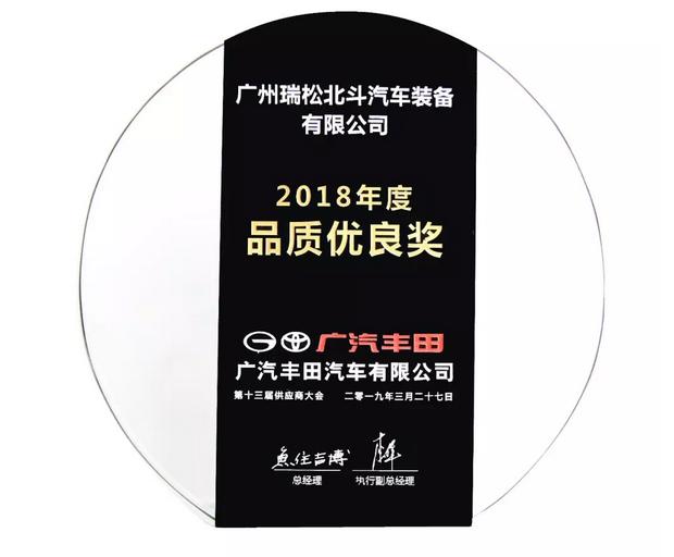 """【2019】广汽丰田2018年度""""品质优良奖"""""""